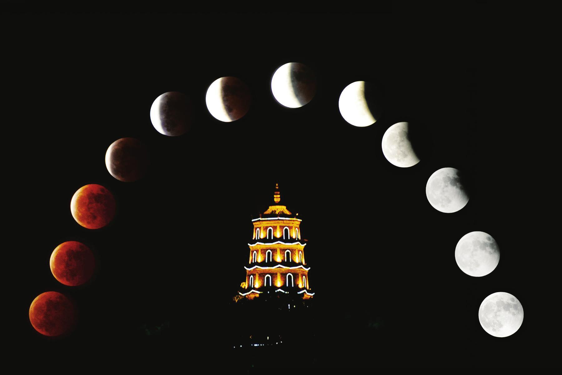 从红圆月到月牙,再到半月又恢复月圆,整个天象持续了约1个小时.