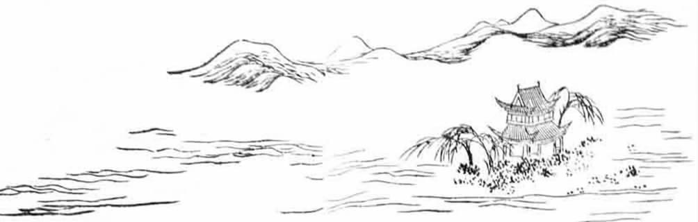 湖水黑白手绘